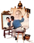 Triple Self Portrait by American painter Norman Rockwell