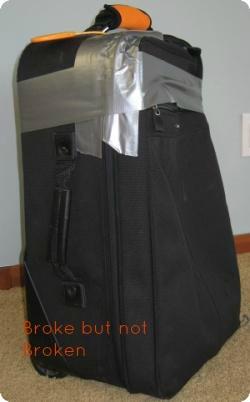 broke suitcase