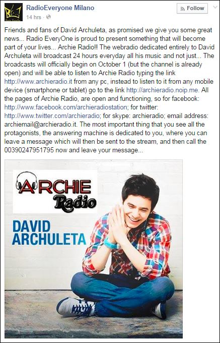 archie radio tweet